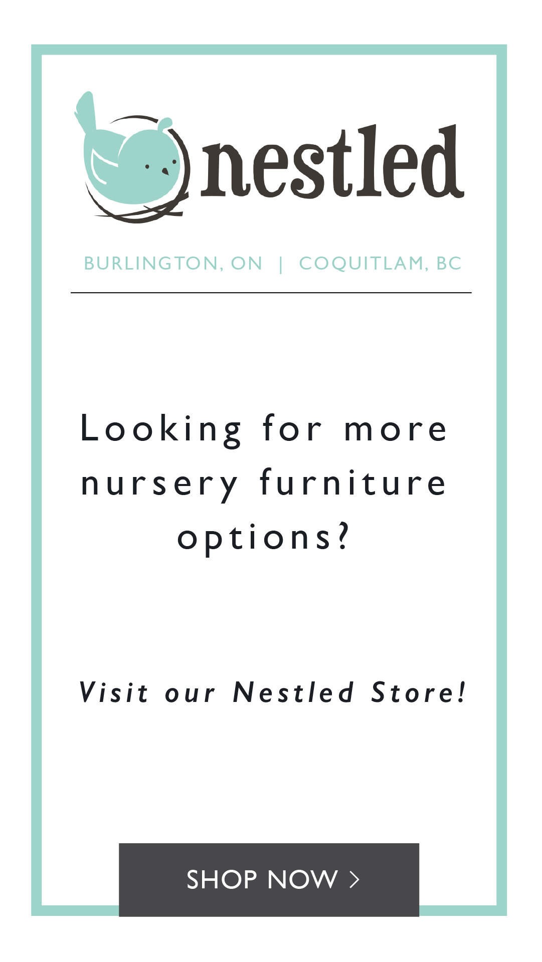Build the nursery of your dreams with gliders, cribs, dressers from nestled.ca