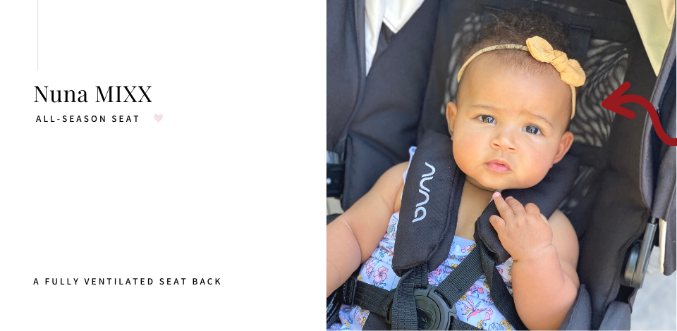 Baby sitting in the all-season Nuna MIXX stroller with fully ventilated seat back