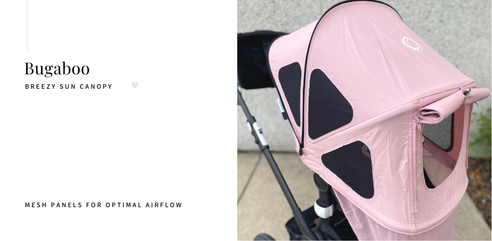 Breezy sun canopy in pink on Bugaboo Fox2 stroller with mesh panels open for optimal airflow