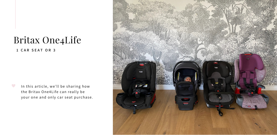 Britax One4Life car seat next to an infant seat, Britax Boulevard, and Britax Grow With You