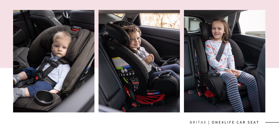 Britax One4Life car seat shown at 3 different stages