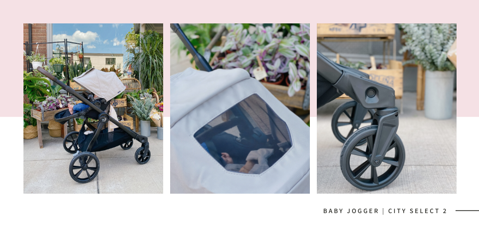 wide shot of the Baby Jogger City Select 2 in front of a flower shop