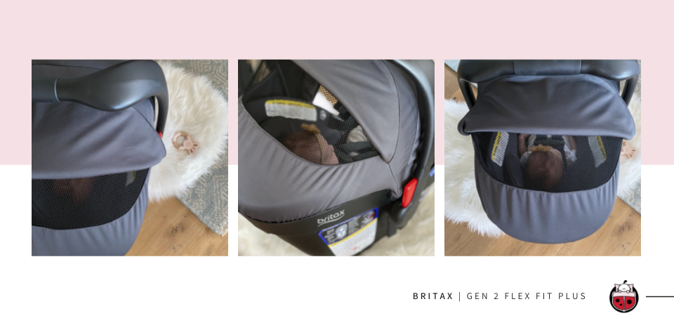 baby in a Britax Gen 2 Flex Fit Plus Seat with showcasing canopy ventalation