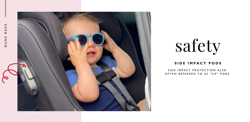 baby sitting in Nuna RAVA car seat with Side Impact Protection Pods