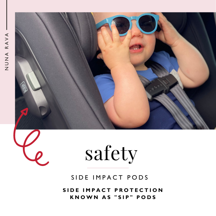 Smiling Baby in Nuna RAVA Car Seat showing Side Impact Pods