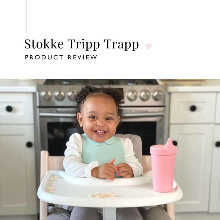 Smiling baby in Stokke Tripp Trapp High Chair with Tray