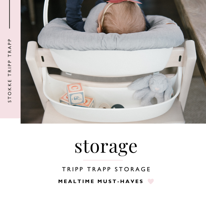 back view of baby in Stokke Tripp Trapp Newborn Set with Storage Attachment
