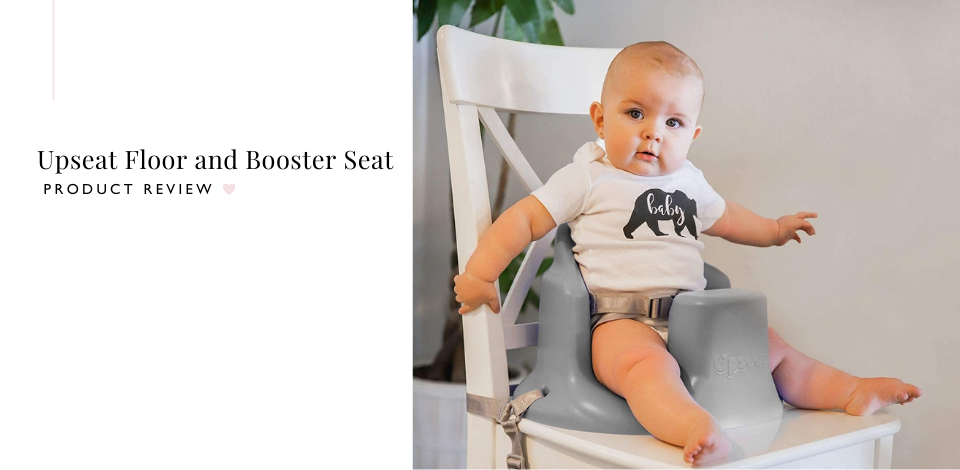 Little boy sitting on an Upseat Floor and Booster Seat attached to a kitchen chair