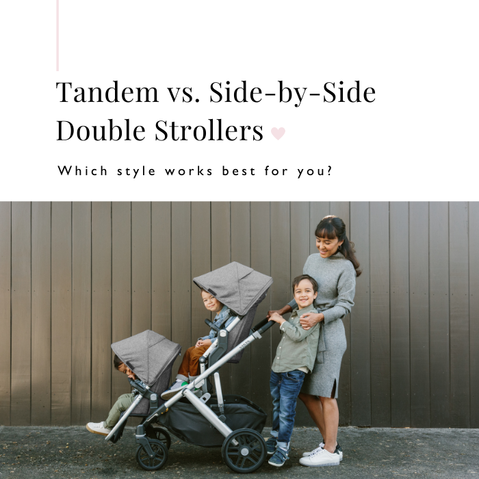 Side view of mother and 3 sons with UPPAbaby VISTA V2 Convertible Stroller
