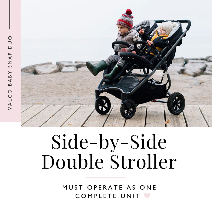 Valco Baby Snap Duo Trend double stroller on boardwalk with 2 babies