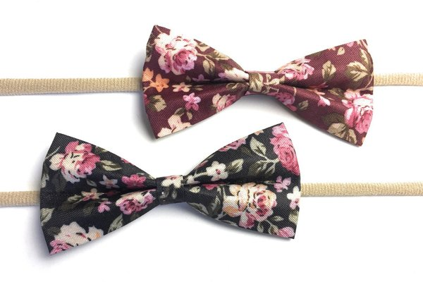 View larger image of 2 Baby Headbands Fabric Tuxedo Bows - Floral