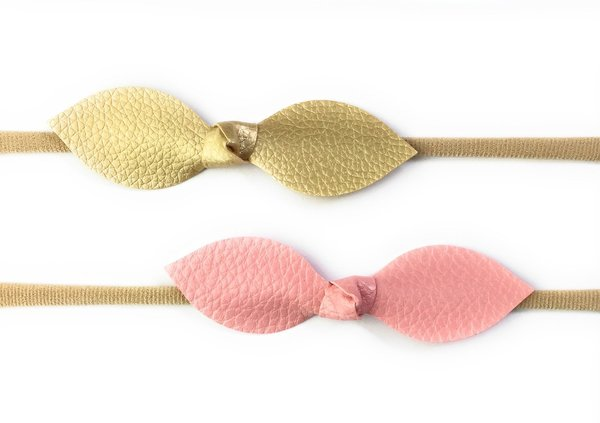 View larger image of 2 Faux Leather Knot Bow Headbands - Pink & Gold