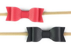 Headbands w Faux Leather Bows - Coral & Charcoal