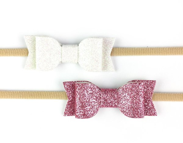 View larger image of 2 Headbands with Mia Faux Leather Bows - Dusty Rose & White
