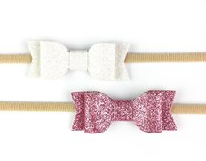 2 Headbands with Mia Faux Leather Bows - Dusty Rose & White