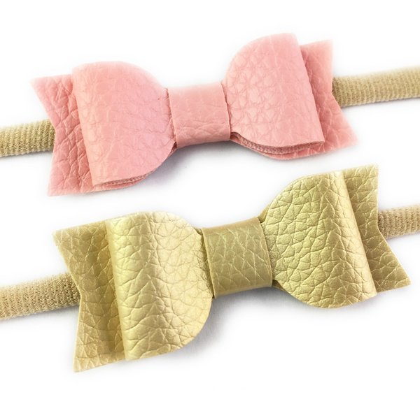 View larger image of 2 Headbands with Mia Faux Leather Bows - Pink & Gold