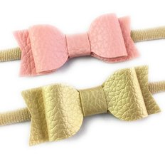 2 Headbands with Mia Faux Leather Bows - Pink & Gold
