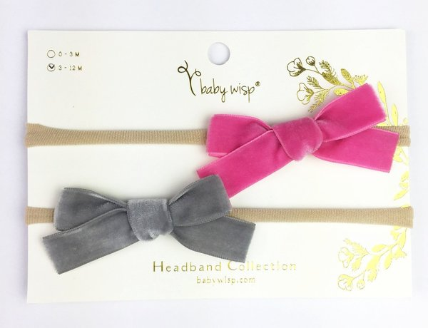 View larger image of 2 Infant Headbands With Velvet Bows - Fuschia/Grey