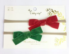 2 Infant Headbands With Velvet Bows - Red/Emory