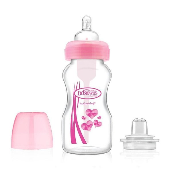 View larger image of 2 in 1 Transition 9oz Wide Neck Bottle Kit - Pink