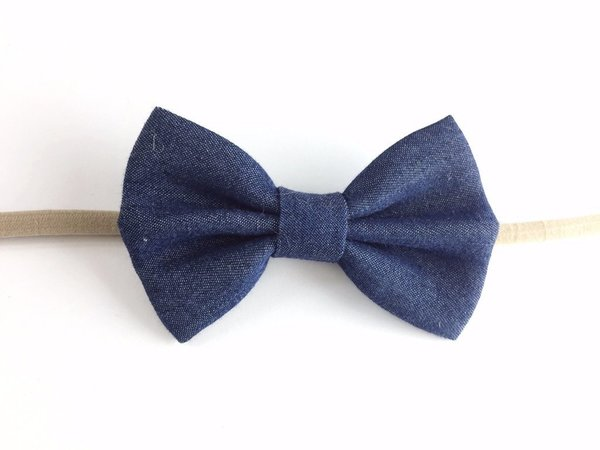 View larger image of Infant Headband - Big Blue Denim Bow