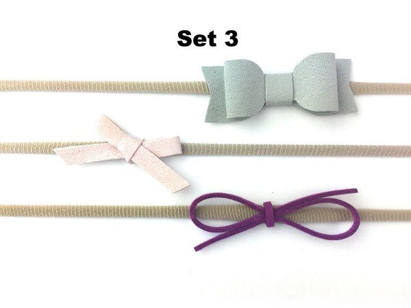 View larger image of Faux Suede Headband Set - Grey/Pink/Magenta 3-12m