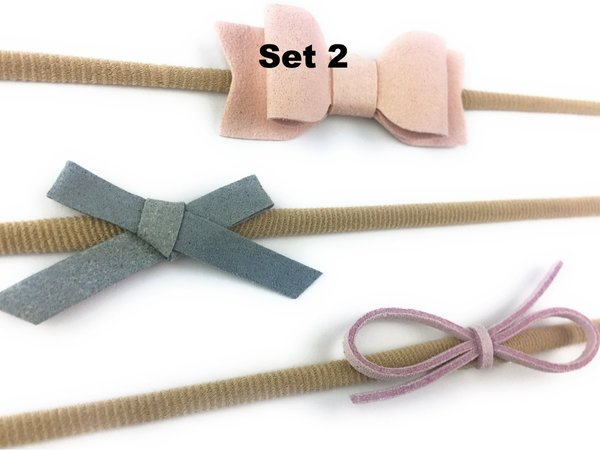 View larger image of Faux Suede Headband Set - Pink/Blue/Lilac 3-12m