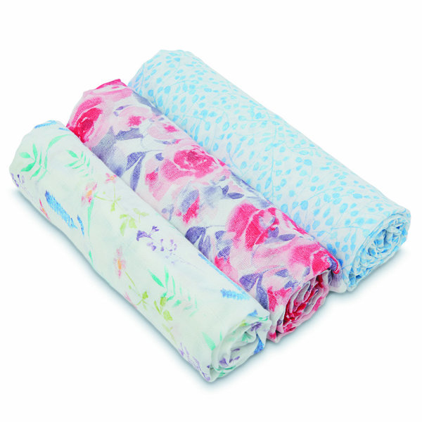 View larger image of 3pk Swaddle-Watercolor Garden