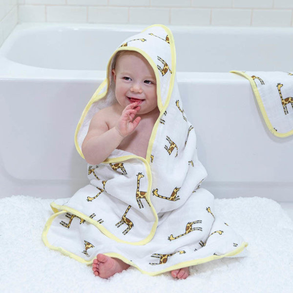 View larger image of Muslin-Backed Hooded Towel + Washcloth Set