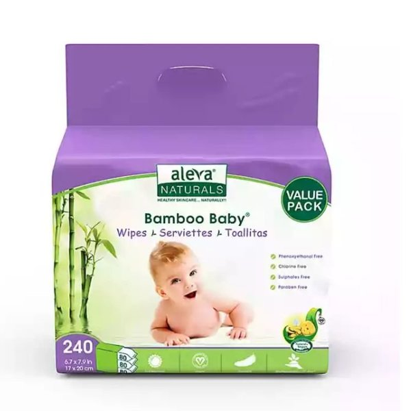 View larger image of Aleva Bamboo Baby Wipes Value Pack 3x80