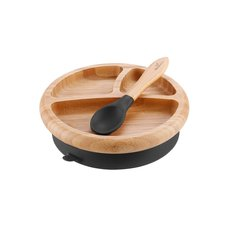 Bamboo Suction Baby Plate and Spoon - Black