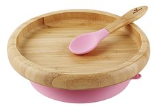 Bamboo Suction Toddler Plate and Spoon - Pink