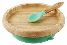 Bamboo Suction Toddler Plate and Spoon - Green