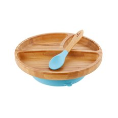 Bamboo Suction Toddler Divided Plate and Spoon - Blue