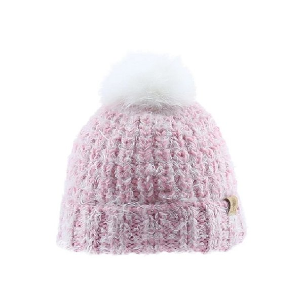 View larger image of Beanie w/White Pom - Blush