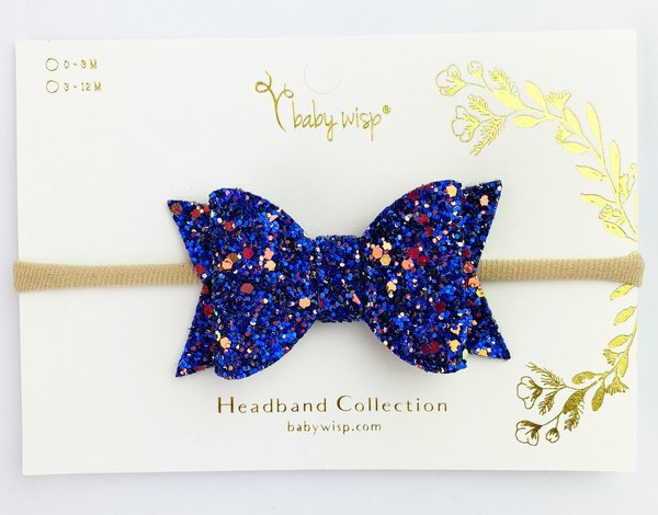 View larger image of Bow Headband-Blue Glitter