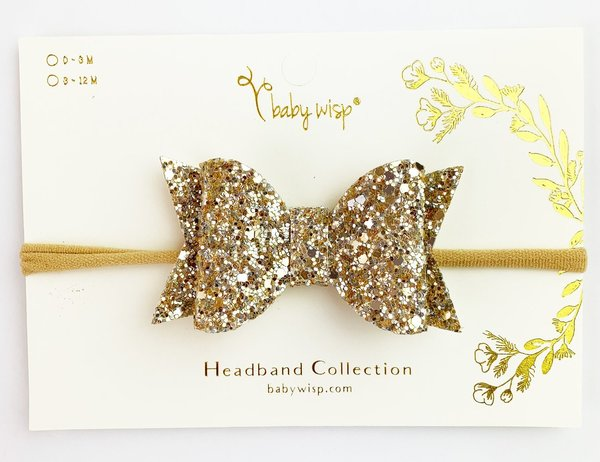 View larger image of Bow Headband-Gold Glitter
