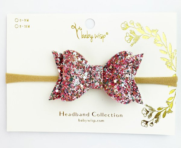 View larger image of Bow Headband-Lt Pink Glitter