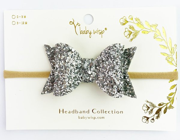 View larger image of Bow Headband-Silver Glitter