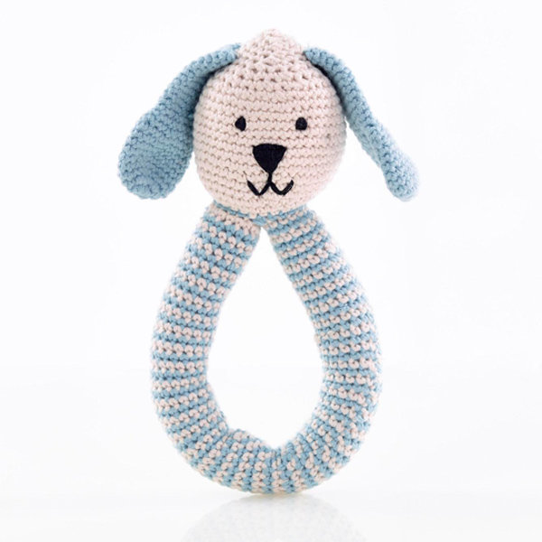 View larger image of Bunny Rattle Organic - Blue