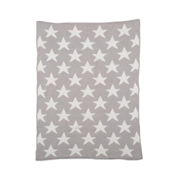 View larger image of Chenille Blanket - Grey Stars