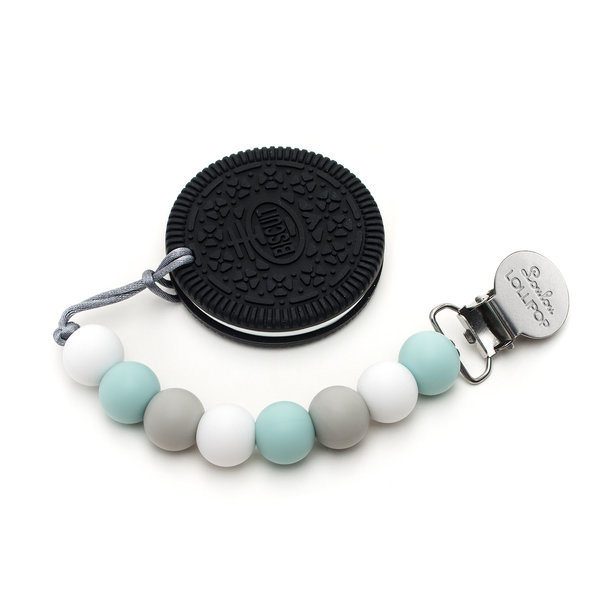 View larger image of Cookie Teether - Blue, White & Grey