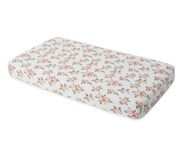 View larger image of Cotton Muslin Crib Sheet - Watercolour Roses