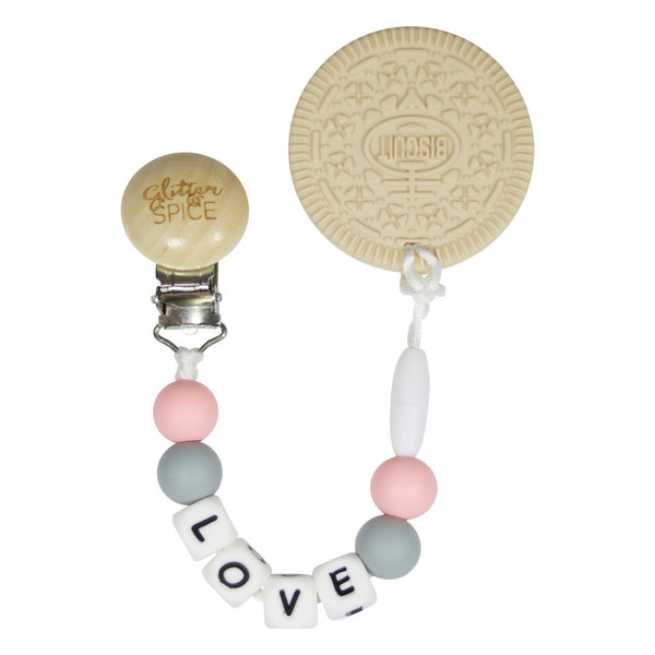 View larger image of Cream Cookie Teether - Ballerina Pink Love