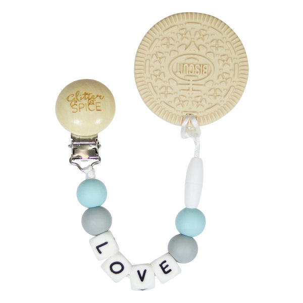 View larger image of Cream Cookie Teether - Misty Blue Love