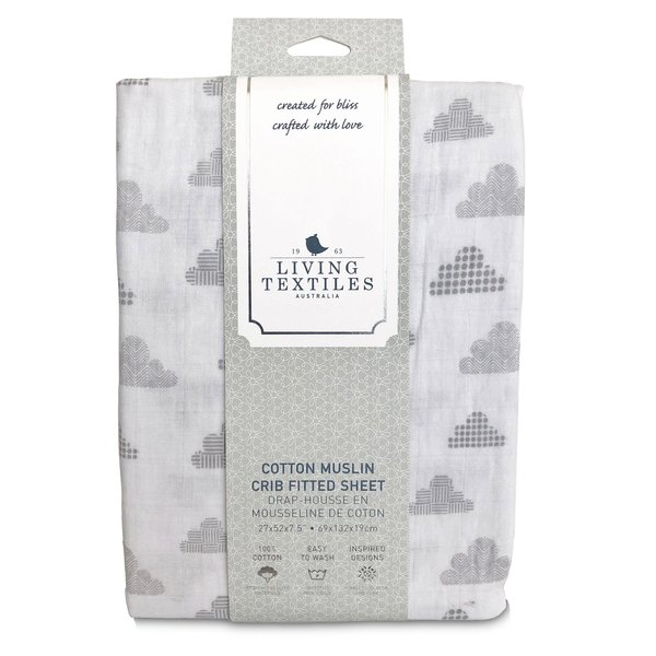 View larger image of Muslin Crib Fitted Sheet - Grey Clouds