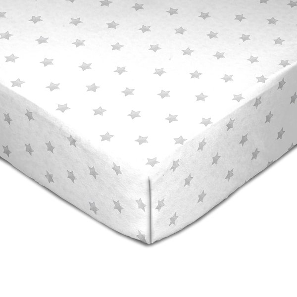 View larger image of Muslin Crib Fitted Sheet - Grey Star