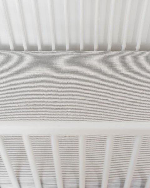 View larger image of Cotton Muslin Crib Sheet - Grey Stripe