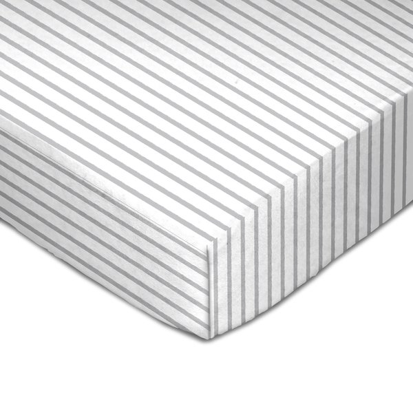 View larger image of Muslin Crib Fitted Sheet - Grey Stripes