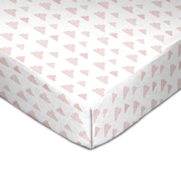 View larger image of Muslin Crib Fitted Sheet - Pink Clouds